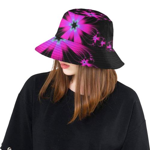 Pink Flower Burst All Over Print Bucket Hat
