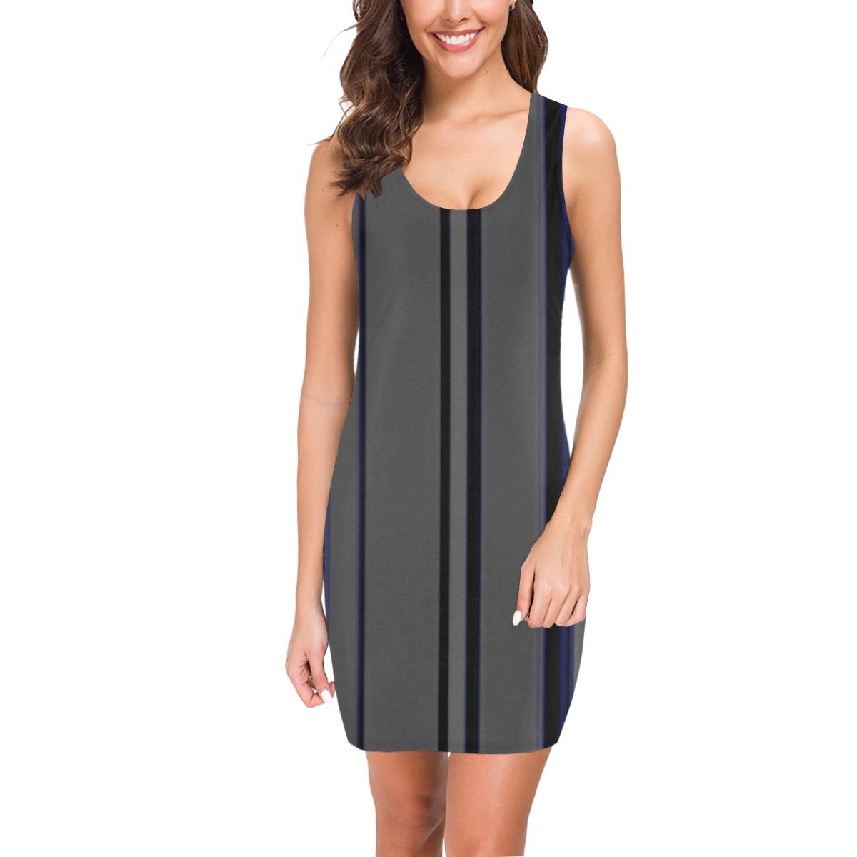 Blue on grey stripes vertical Medea Vest Dress (Model D06)