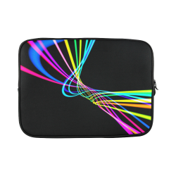 abstract-pattern-colorful-lines-wave-black-backgro Custom Sleeve for Laptop 15.6""