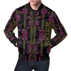 wild flowers on black All Over Print Bomber Jacket for Men (Model H19)