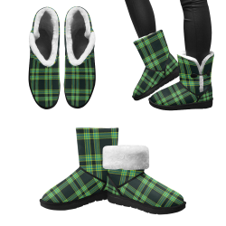 stripes sea green Unisex Single Button Snow Boots (Model 051)