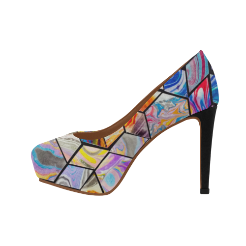 Abstract Geometry Marbling Women's High Heels (Model 044)