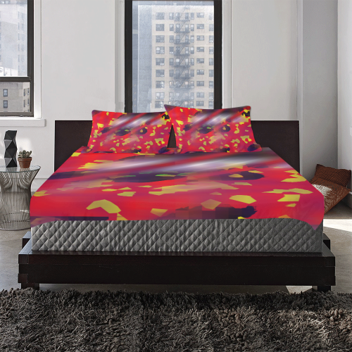 Red Yellow Spot Red Line 3-Piece Bedding Set