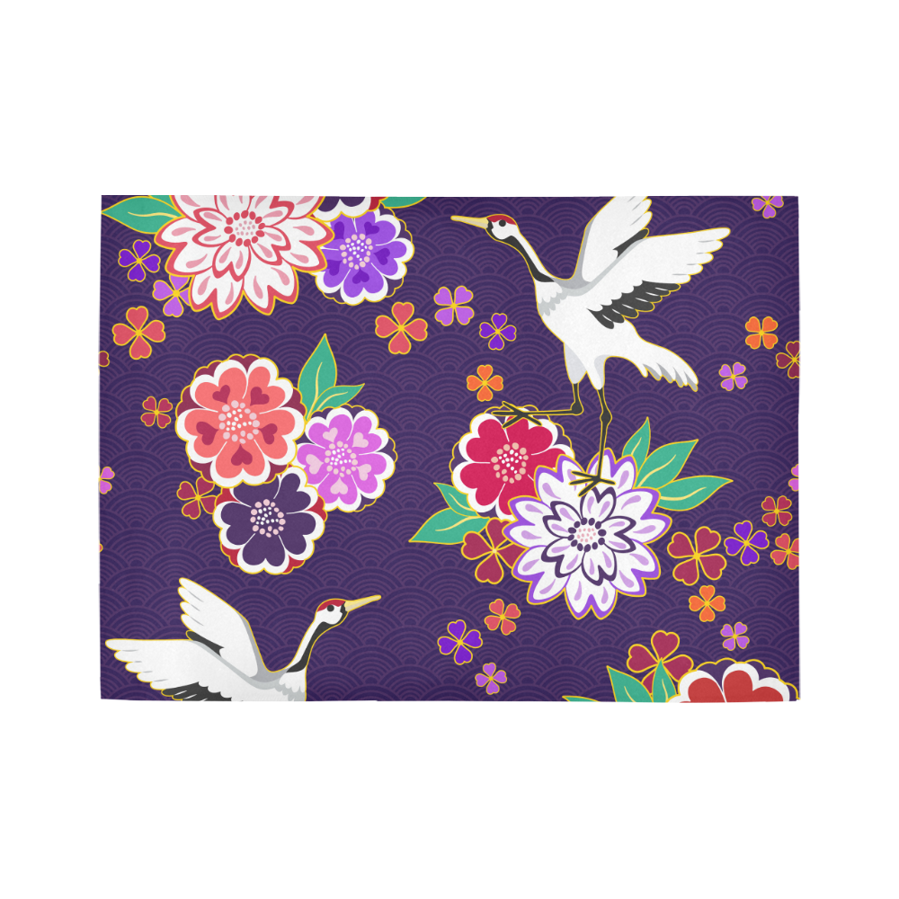 7'x5' Large Area Rug Decorative Purple Kimono Floral Crane Motif Area Rug7'x5'