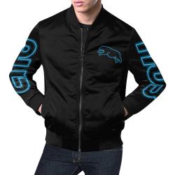 Blue Neon Jumping Bear All Over Print Bomber Jacket for Men (Model H19)