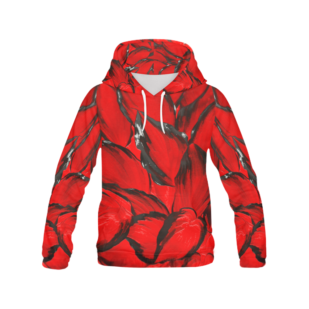 leafs_abstract TRY2 06 All Over Print Hoodie (for Women)