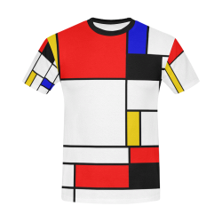 Bauhouse Composition Mondrian Style All Over Print T-Shirt for Men/Large Size (USA Size) Model T40)