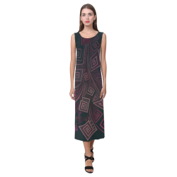 Psychedelic 3D Square Spirals - pink and orange Phaedra Sleeveless Open Fork Long Dress (Model D08)