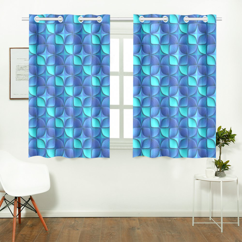 Blue shades abstract Kitchen Curtain 26'' X 39''(2 Pieces, 1 Design)