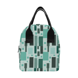 Abstract Green Squares Insulated Zipper Lunch Bag (Model 1689)