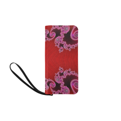 Red Pink Mauve Hearts and Lace Fractal Abstract 2 Women's Clutch Purse (Model 1637)