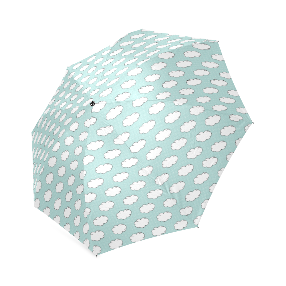 Clouds with Polka Dots on Bleached Coral Foldable Umbrella (Model U01)