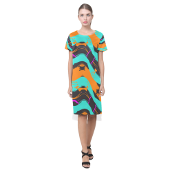 Blue orange black waves Short Sleeves Casual Dress(Model D14)
