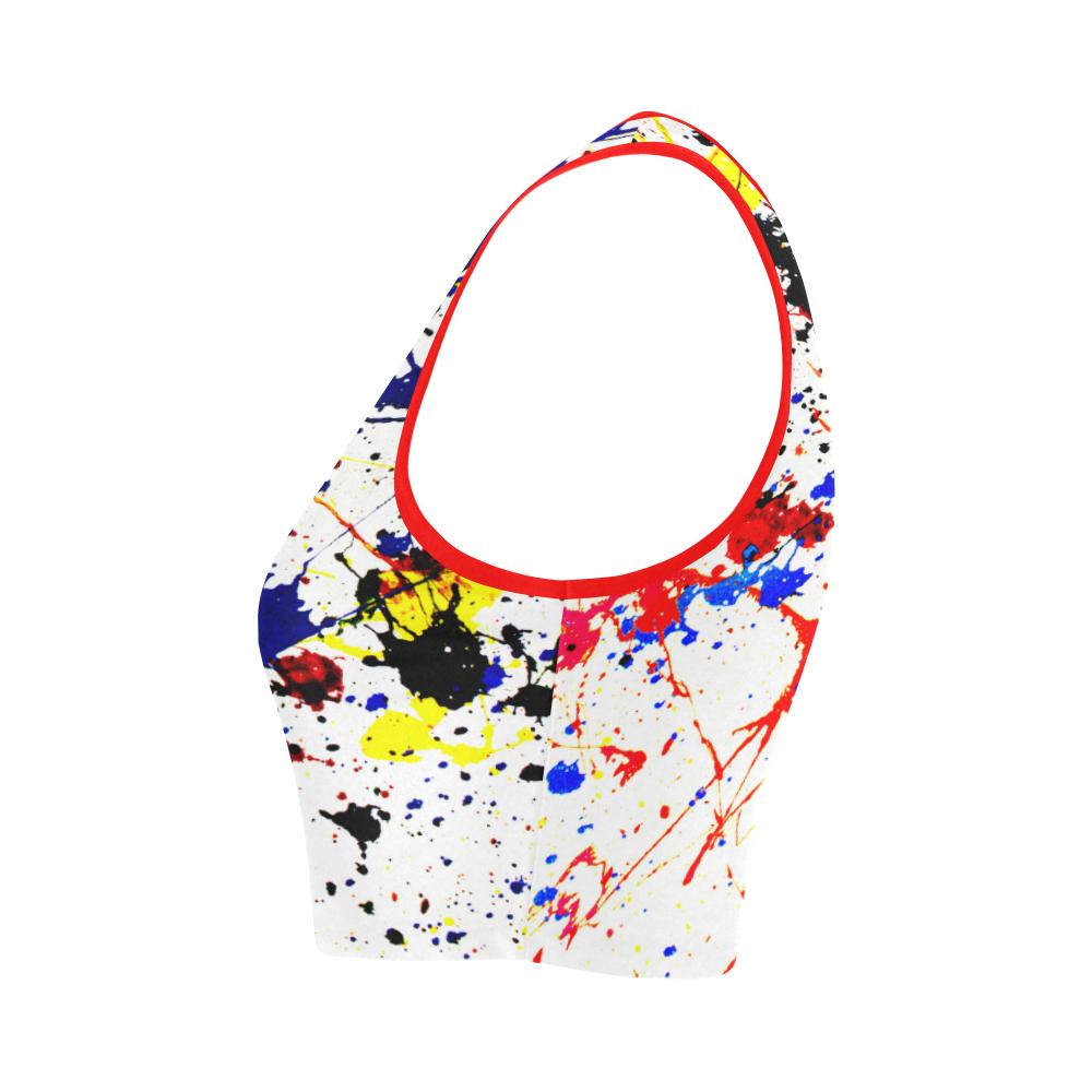 Blue & Red Paint Splatter Women's Crop Top (Model T42)