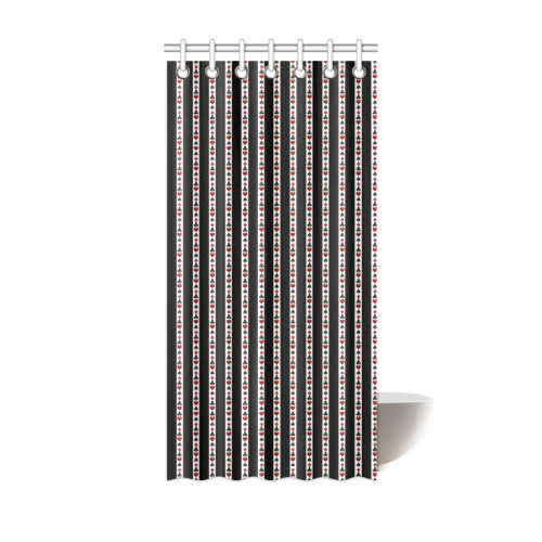 "Las Vegas Playing Card Symbols Stripes Shower Curtain 36""x72"""