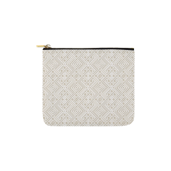 White 3D Geometric Pattern Carry-All Pouch 6''x5''