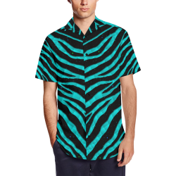 Ripped SpaceTime Stripes - Cyan Men's Short Sleeve Shirt with Lapel Collar (Model T54)