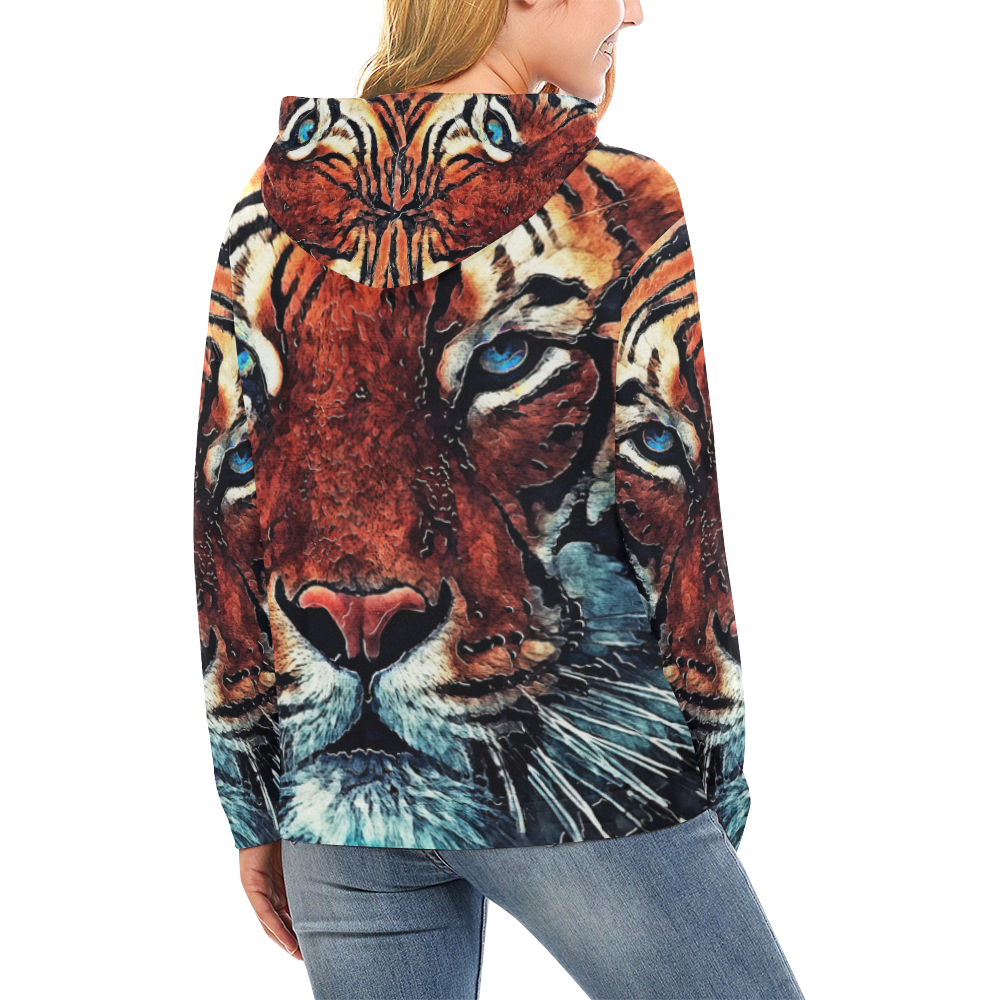 tiger All Over Print Hoodie for Women (USA Size) (Model H13)