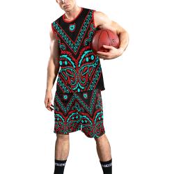 blue and red bandana All Over Print Basketball Uniform