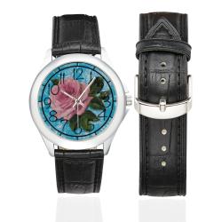 Beautiful Vintage Flower Women's Classic Leather Strap Watch(Model 203)