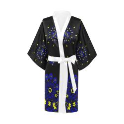 blue yellow bandana version 2 Kimono Robe