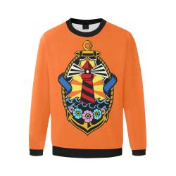 Lighthouse Modern Orange Men's Oversized Fleece Crew Sweatshirt/Large Size(Model H18)