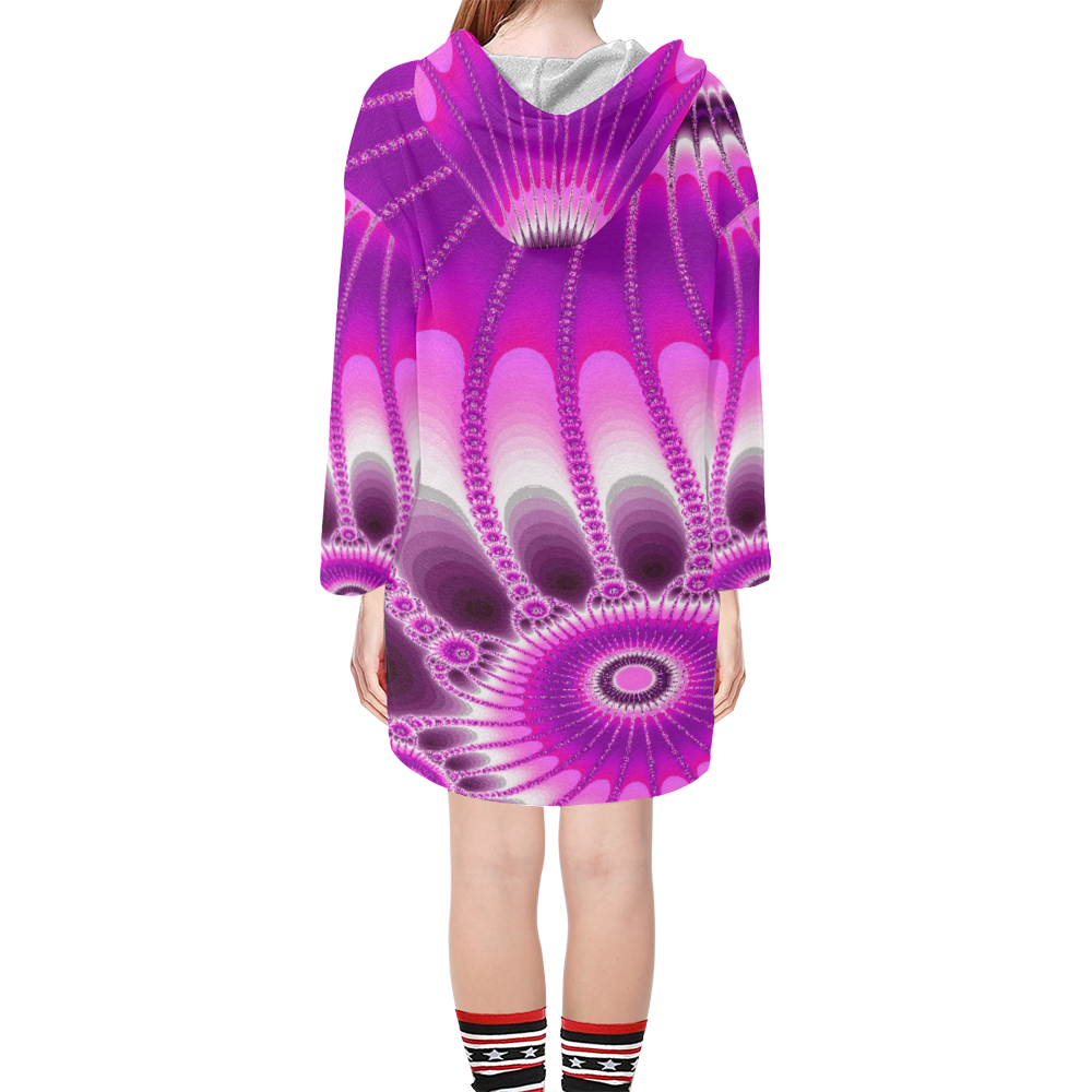 Fuchsia Sunflower Step Hem Tunic Hoodie for Women (Model H25)