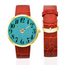 Blue Retro Floral Women's Golden Leather Strap Watch(Model 212)