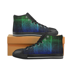 Blue and Green Retro Glitch Women's Classic High Top Canvas Shoes (Model 017)