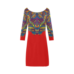 Groovy Doodle Colorful Art on Red Bateau A-Line Skirt (D21)