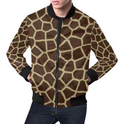giraffe print All Over Print Bomber Jacket for Men (Model H19)