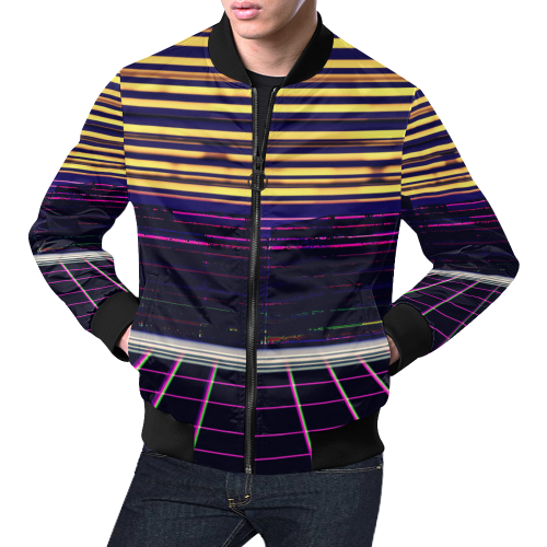 Cyber City All Over Print Bomber Jacket for Men (Model H19)