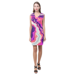 Pink and Purple Geode Phoebe Sleeveless V-Neck Dress (Model D09)
