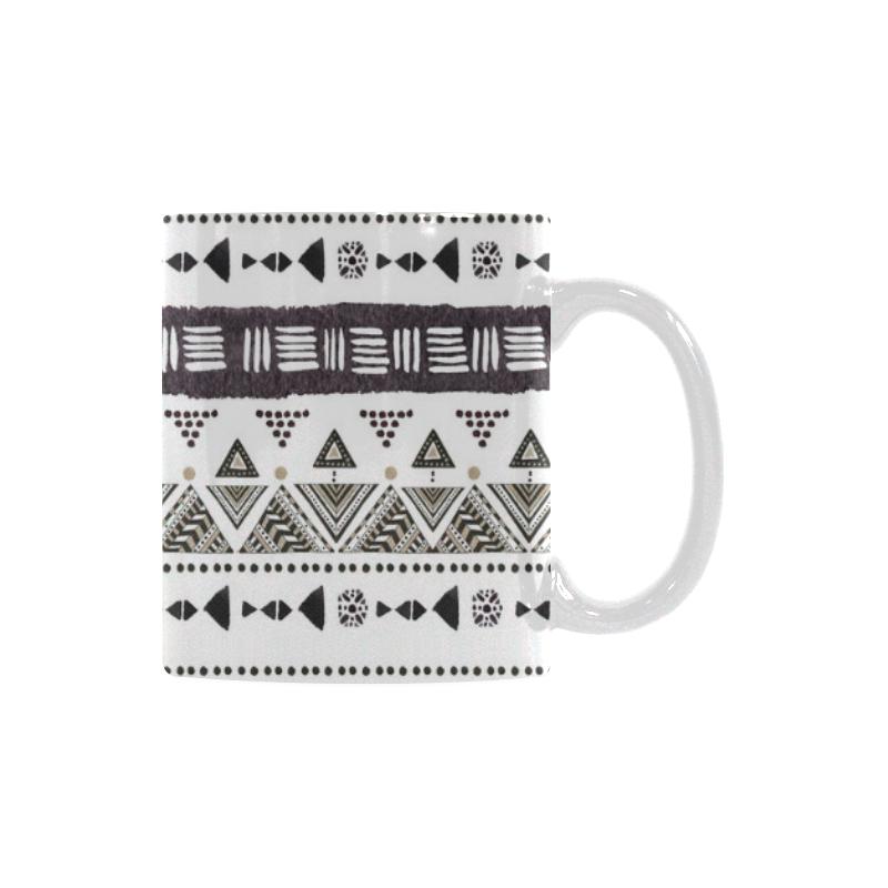 Native American Ornaments Watercolor Pattern Brown Custom White Mug (11OZ)