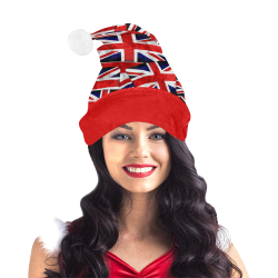 Union Jack British UK Flag Red Trim Santa Hat