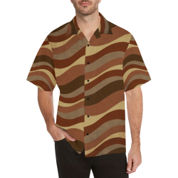Shades Of Brown Waves Hawaiian Shirt (Model T58)