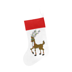 Rudy Reindeer With Lights White/Red Christmas Stocking
