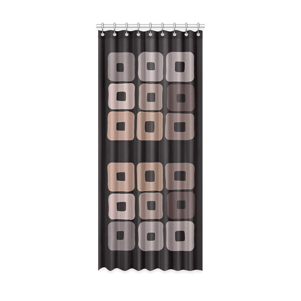 "All shades of coffee. Brown squared pattern Window Curtain 52"" x 120""(One Piece)"
