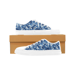 Digital Blue Camouflage Women's Canvas Zipper Shoes (Model 001)