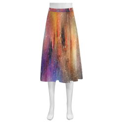 Unique Abstract Mnemosyne Women's Crepe Skirt (Model D16)