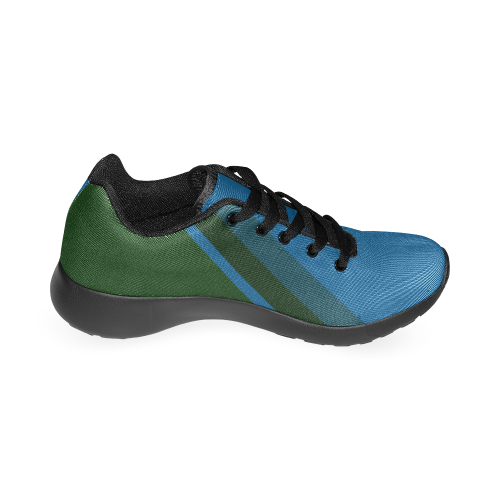 Classic Blue Layers on Dark Green Men's Running Shoes (Model 020)