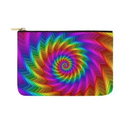 Psychedelic Rainbow Spiral Pouch Carry-All Pouch 12.5''x8.5''