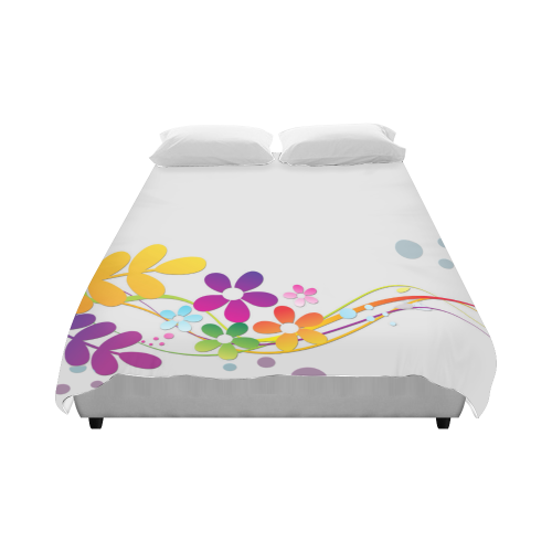 """Cut Paper Flowers and Ferns Duvet Cover 86""""x70"""" ( All-over-print)"""