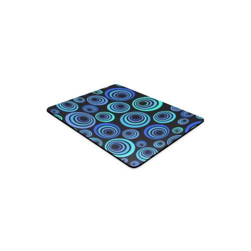Retro Psychedelic Pretty Blue Pattern Rectangle Mousepad