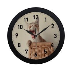 Yawning Cat Circular Plastic Wall clock