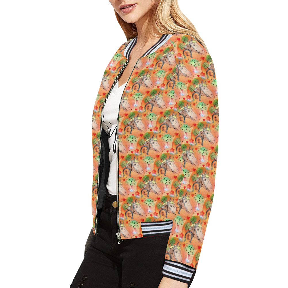 Horse Popart by Nico Bielow All Over Print Bomber Jacket for Women (Model H21)