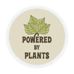 "Powered by Plants (vegan) Circular Beach Shawl 59""x 59"""