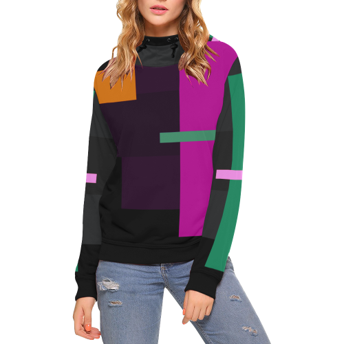 OUTSIDER II High Neck Pullover Hoodie for Women (Model H24)