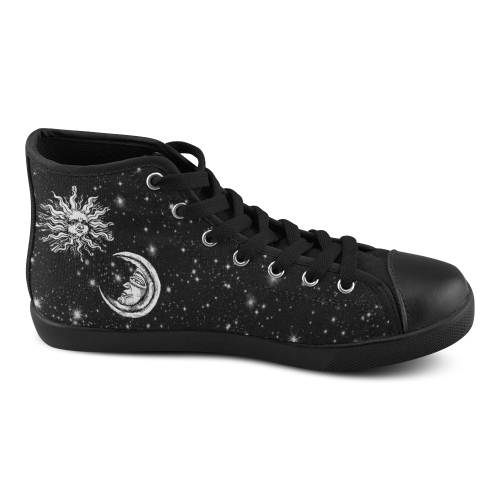 Mystic  Moon and Sun High Top Canvas Women's Shoes/Large Size (Model 002)