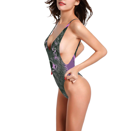 WOLF PINK AND GREY Sexy Low Back One-Piece Swimsuit (Model S09)